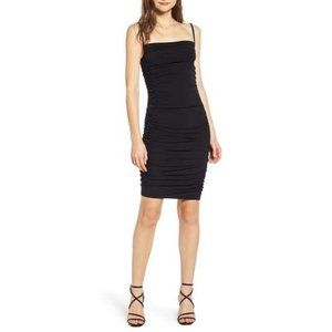 Leith Ruched Sides Body Con Black Dress